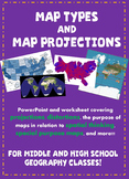 Types of Maps and Map Projections PowerPoint and Worksheet!