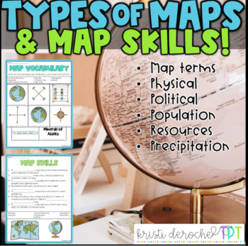 types of maps and map skills pack social studies grades 2 5 by kristi deroche. Black Bedroom Furniture Sets. Home Design Ideas