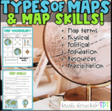 Types of Maps and Map Skills Pack- Social Studies grades 2-5