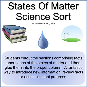 Types of Matter Cutout Sort and Paste Science Grades 3-5