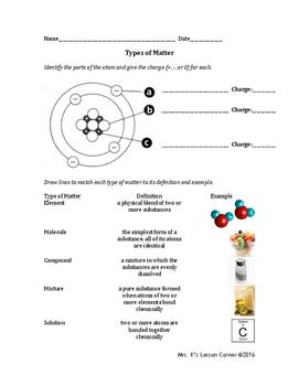Types of Matter Worksheet - 3 levels