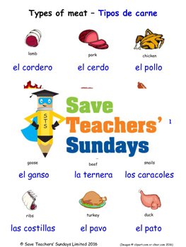 Types of Meat in Spanish Worksheets, Games, Activities and Flash Cards