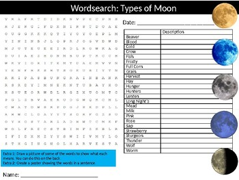 Types of Moon Wordsearch Puzzle Sheet Keywords Science Physics Astronomy