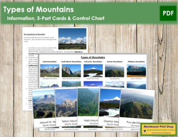 5th grade montessori resources lesson plans teachers pay teachers types of mountains 3 part cards chart fandeluxe Images