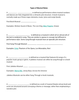 Notes: Types of Musicals