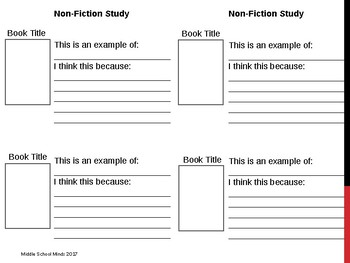 Types of Non-Fiction - Reader's Notebook Page