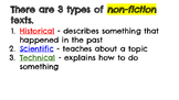 Types of Nonfiction Texts, Text Structures, and Signal Words
