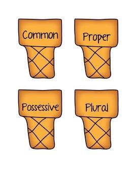 Types of Noun Sort - Grammar Center - Ice Cream Themed