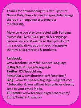 Types of Nouns Data Freebie