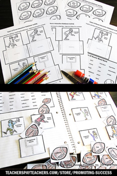Types of Nouns Interactive Notebook, Football Theme