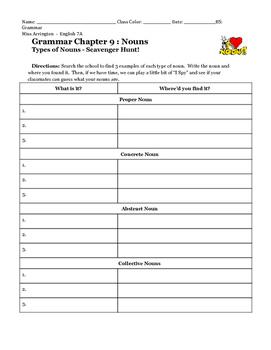 Types of Nouns School Scavenger Hunt Activity
