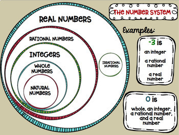 Types of Numbers Posters Middle School Math