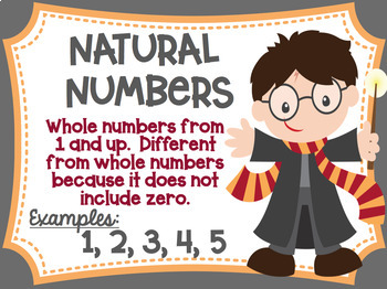 Types of Numbers Posters Middle School Math Harry Potter Wizard Theme