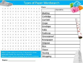 Types of Paper Wordsearch Sheet Starter Activity Keywords Art Design