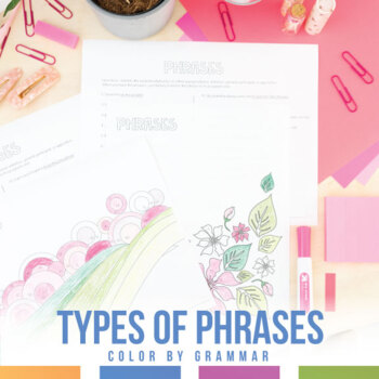 Types of Phrases Color by Grammar: Infinitive, Gerund, Participial, Appositive