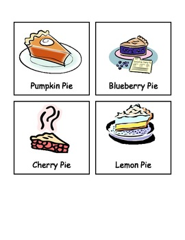Types of Pie Words- Thanksgivng/Holiday