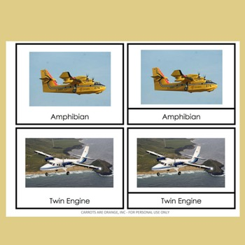 Montessori Types of Planes 3 Part Cards