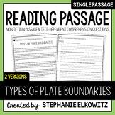 Types of Plate Boundaries Reading Passage