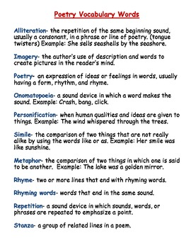 Types of Poems and Poetry Terms