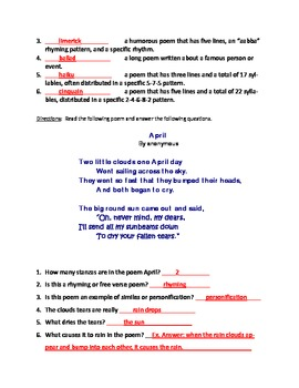 Types of Poems and Poetry Terms Test