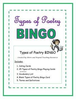 Types of Poetry Bingo