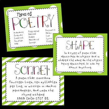 Types of Poetry~ Green Background