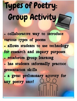 Types of Poetry: Group Activity (CCSS.RL.9-10.10)