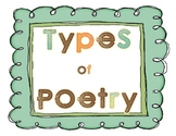 Types of Poetry Poster Set - Haiku, Diamante, Free Verse...