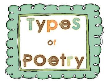 Types of Poetry Poster Set - Haiku, Diamante, Free Verse...