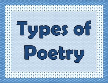 Types of Poetry Posters: Water Theme