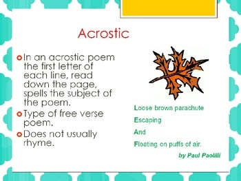 Types of Poetry- for Reading and Writing TEKS Aligned STAAR Review