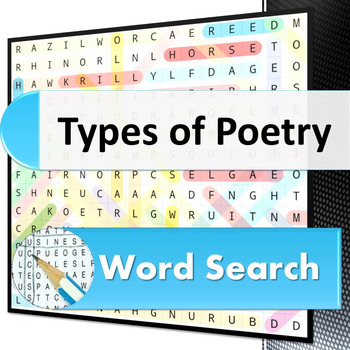 Types of Poetry word search puzzle