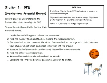 Types of Potential Energy Lab Station Bundle
