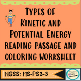 Kinetic and Potential Energy Types Reading Passage and Coloring Worksheet