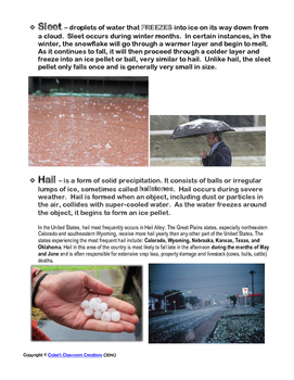Types of Precipitation Lesson Plan (rain, snow, sleet, hail) + Foldable