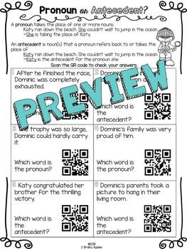 Pronouns QR Code/Task Card Activity