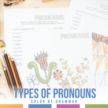 Color by Grammar Types of Pronouns Coloring Sheet