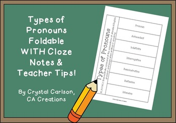 Types of Pronouns Foldable WITH Cloze Notes, Answer Key, a