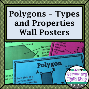 Polygons - Types & Properties of & Formulas for (Regular) Polygons Wall Posters