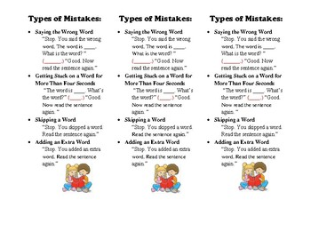Types of Reading Mistakes Bookmarks
