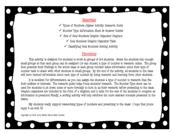 Types of Real Numbers Jigsaw Activity