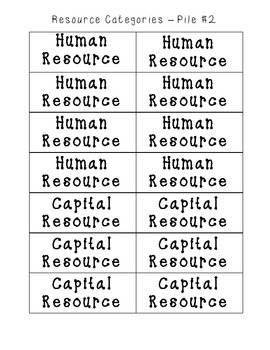 Types of Resources - Memory Game!