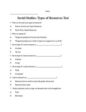 Types of Resources - Social Studies Assessment