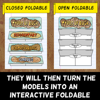 Types of Rocks Foldable - Rock Cycle Vocabulary