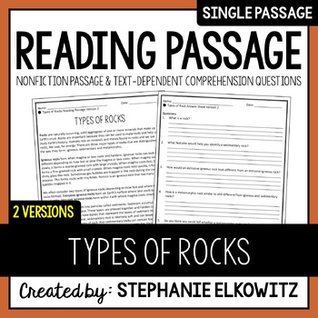 Types of Rock Reading Passage