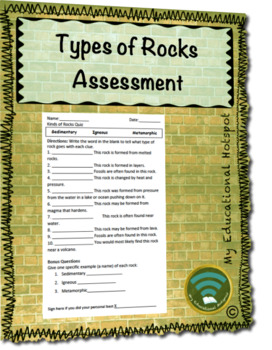 Types of Rocks Assessment