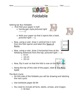 Types of Rocks / Rock Cycle Foldable - Individual Instructions