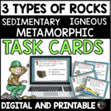 3 Types of Rock: (Sedimentary, Igneous, Metamorphic)  UPDATED:*58 Task Cards