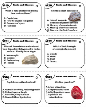 Types of Rocks and Minerals Task Cards (Geology Unit)