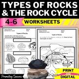 Rock Cycle Worksheets, Types of Rocks 4th Grade Science Packet No Prep